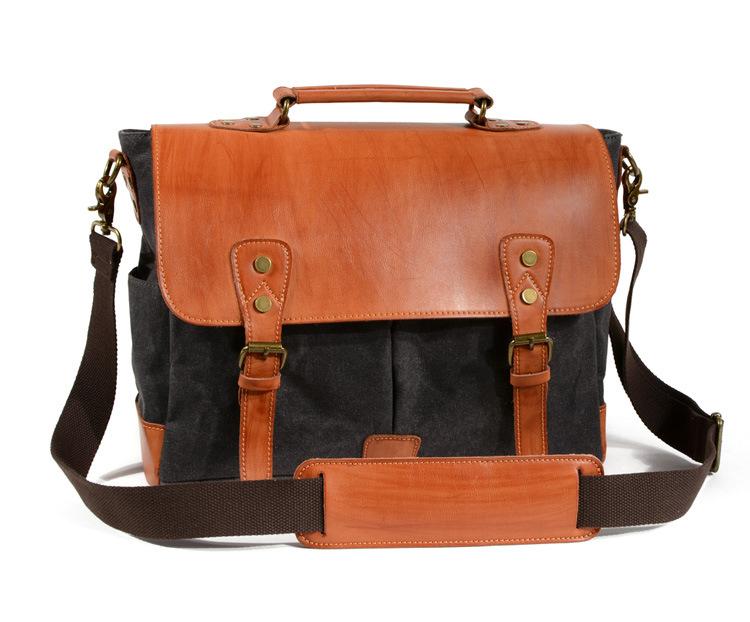 Shoulder Bag Waterproof Wax Canvas Leather Men Messenger Carema Bag