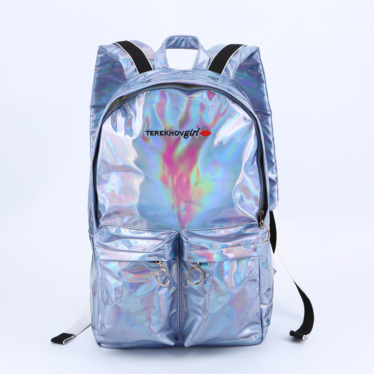 Silver shiny pu leather backpack RB-710
