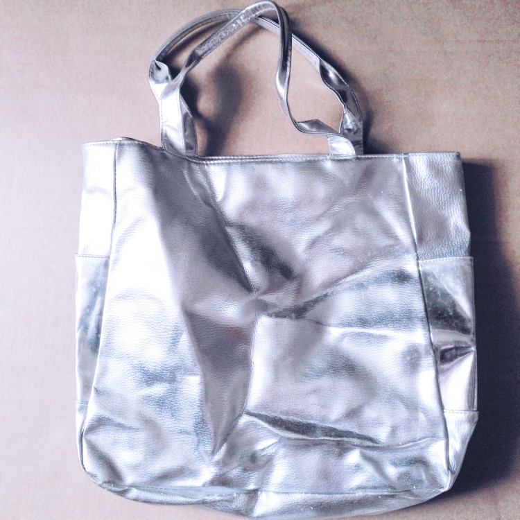 promotional silver pu tote with custom logo