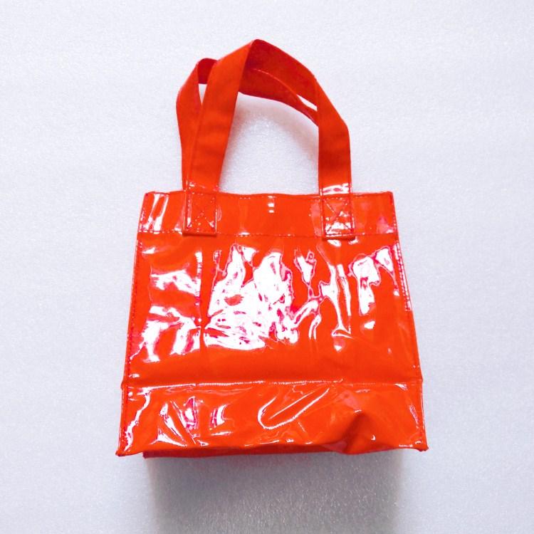 shiny pvc leather small promotional handbag tote
