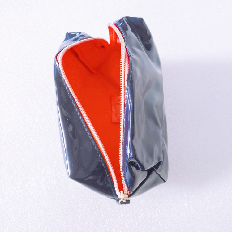 Shiny Blue pvc leather cosmetic pouch-RB418